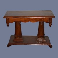 "Old Wood Miniature Doll Table Great Display 9"" Tall"