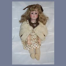 """Antique Doll Bisque Kestner 171  25"""" Tall Gorgeous Old Dress and Fur Stole"""