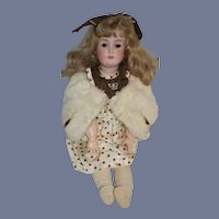 "Antique Doll Bisque Kestner 171  25"" Tall Gorgeous Old Dress and Fur Stole"