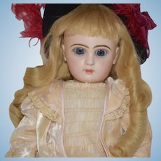 Antique French Bisque Doll TeTe Jumeau Closed Mouth W/ Lever Working Eyes Stamped Body