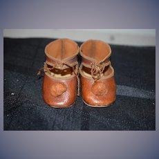 Wonderful Leather Doll Shoes W/ Pom Pom's