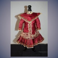 Gorgeous Doll Dress French Market Antique Material Hand Made