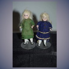 Antique Doll Set All Bisque Miniature Dollhouse Twins Original Factory Clothing