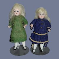 Antique Doll Set All Bisque Miniature Dollhouse Twins Original Factory Clothing