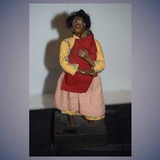 Wonderful Old Black Doll Sculpture W/ Cloth Doll Black Americana Folk Art