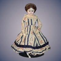 Antique Doll Papier Mache Fashion Lady Cobalt Glass Eyes W/ Hoop Skirt Undergarment