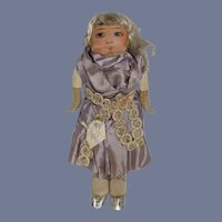 Old Unusual Cloth Doll Paper Face Charming