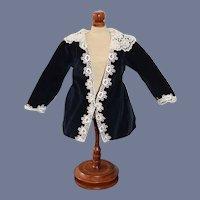 Vintage Doll Satin Lined Velvet Lace Trim Jacket