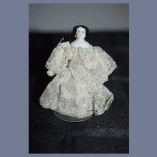 Antique Miniature China Head Doll Dollhouse Dressed