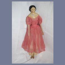 Antique Milliner's Model Papier Mache Doll Wood Limbs Leather Body