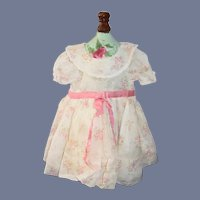 Old Doll Dress Sweet Puckered Sleeves Satin Belt Sweet