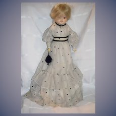 Antique Doll Fashion Doll Papier Mache Glass Eyes Nicely Dressed
