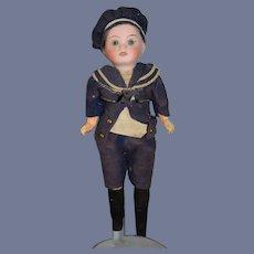 Antique Doll Bisque Petite Miniature Sailor Boy Factory Clothing DEP