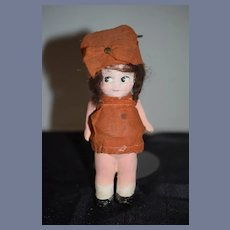 Antique Doll Papier Mache Petite Doll Side Glancing Eyes W/ Factory Clothes
