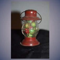 Old Miniature Tin and Glass Candy Container W/ Candy Perfect Size For Doll