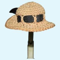 Old Doll Hat Bonnet Crochet W/ Threaded Ribbon Fashion Doll