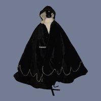 Old Wonderful Doll Black Velvet Cape W/ Beads Gorgeous Fashion Doll