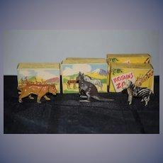 Old Doll Britain Miniature Metal Animal Lot W/ Original Boxes Zebra Kangaroo Lion England Zoological Series