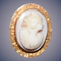Old Petite 10 K Cameo For Doll Pin Brooch Pendant
