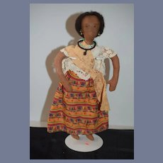 Vintage Black Cloth Doll Rag Doll Sewn and Molded Features