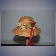 Wonderful Old Doll Straw Hat Bonnet W/ Flowers