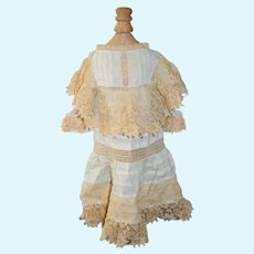 Antique Doll Dress French Market Hand Made FAB old Lace