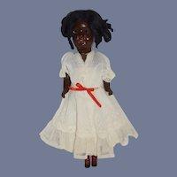 Antique Black Bisque Doll Cabinet Size Glass Eyes