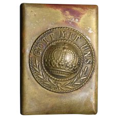 OLD  WW1 Brass Metal GOTT MIT UNS Matchbox Holder