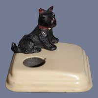 Old Cast Iron Scottie Dog Scotty Inkwell Sweet Size Scottish Terrier