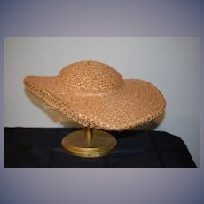 Wonderful Hand Woven Straw Bonnet Hat Jays Boston Wellesley Wide Brim Perfect For Doll