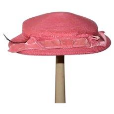 Sweet Doll Hat Bonnet Velvet Bow Pink Hat Harzfeld's