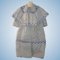 Wonderful Antique Doll Dress Coat W/ Cape Embroidery Fancy