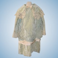 Wonderful Old Velvet Doll Dress Drop Waist Fancy Lace Collar W/ Bow Sash French Market