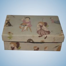 Sweet old Cloth Covered Doll Box Nursery Rhymes Sweet Trunk