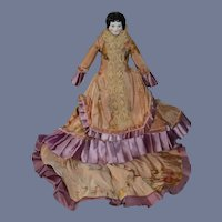 Antique Doll Petite China Head W/ Fab Antique Doll outfit W/ Train Skirt Jacket Petite Doll