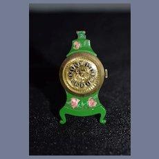 Wonderful Doll Vintage Miniature Hand Painted Mantle Clock Easel Back Dollhouse