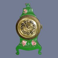 Wonderful Doll Vintage Miniature Hand Painted Mantle Clock Easel Back Dollhouse