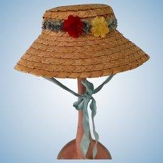 Sweet Vintage Straw Doll Bonnet Hat Wide Brim