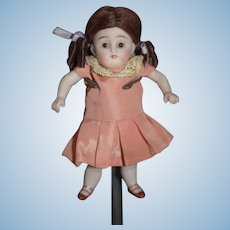 Antique Doll ALL Bisque  Jointed Dollhouse Miniature Glass Eyes