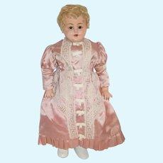 "Antique Doll Papier Mache Glass Eyes Shoulder Head 27 1/2"" Tall"