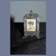 Old Tin Glass Front Ornate Miniature Doll Frame Dollhouse