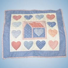 Sweet Vintage Hand Made Doll Patchwork Heart Quilt Signed