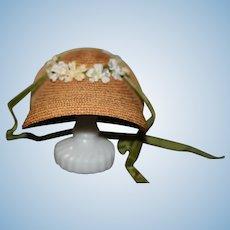 Sweet Wide Brim Straw Doll Bonnet Hat With Ties Flowers