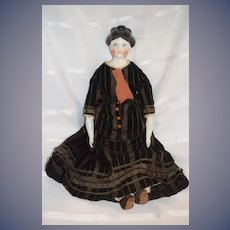 Antique Doll China Head C.F. Kling W/ Wonderful Antique Clothing Doll Skirt Top Velvet