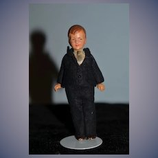 Old Painted Bisque Dollhouse Man in Original Factory Suit