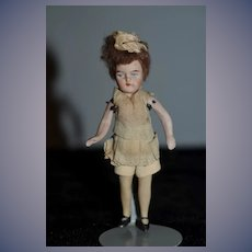 Antique All Bisque Miniature Flapper Doll Jointed Dollhouse Lady