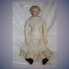 Antique Doll Gorgeous Parian Gorgeous Blue Eyes Blonde Hair