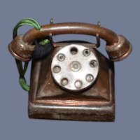Old Miniature Copper Doll Telephone Dollhouse