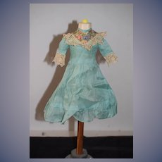 Sweet Old Doll Dress Hand made Lace Trim