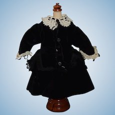 Vintage Doll Dress Velvet Petite Doll Fancy Lace Fringe